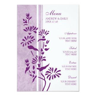 Floral roxo e branco do menu do casamento convite 12.7 x 17.78cm
