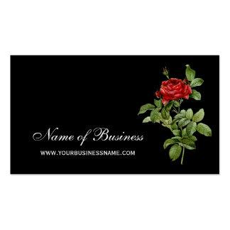 Floral vermelho da rosa vermelha clássica e preto cartão de visita