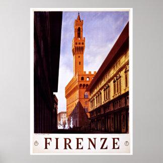 Florença Firenze Italia - posters das viagens vint