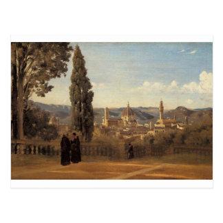 Florença, os jardins de Boboli por Camilo Corot Cartão Postal