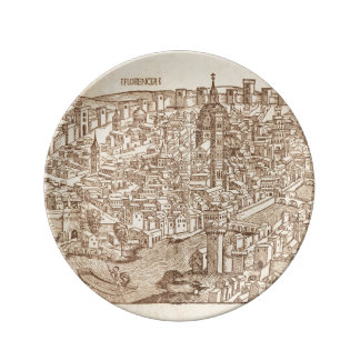 Florença Woodcut medieval Pratos De Porcelana