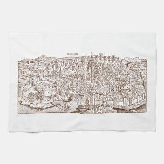 Florença Woodcut medieval Toalha De Mão