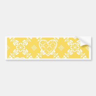 Flores amarelas e brancas e corações customizáveis adesivo para carro
