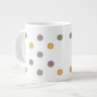 Flores, amarelo, verde, azul, roxo caneca de café grande