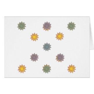 Flores, amarelo, verde, azul, roxo cartão de nota