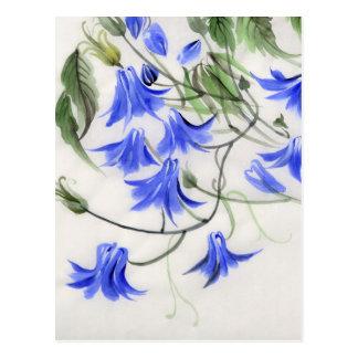 Flores azuis cartão postal