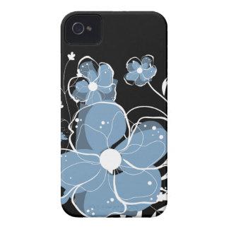 Flores azuis e brancas femininos modernas capinhas iPhone 4