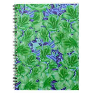 Flores azuis verdes vibrantes do vintage cadernos espirais