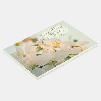 Flores brancas de Apple que Wedding o Guestbook Livro De Visitas