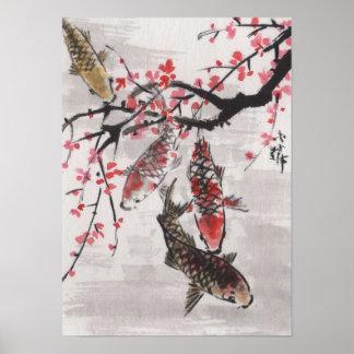 Flores chinesas da ameixa da aguarela KOI da arte  Poster