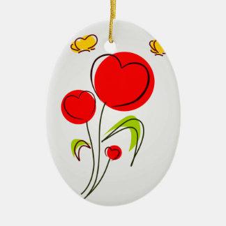 Flores com enfeites de natal dos corações