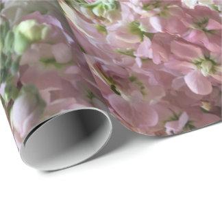 Flores conservadas em estoque cor-de-rosa e papel de presente