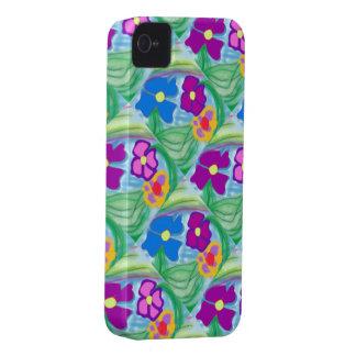 Flores cor-de-rosa & azuis da caixa bonito nova de capas para iPhone 4 Case-Mate
