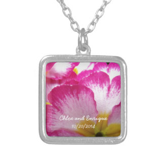 Flores cor-de-rosa casamento personalizado colar banhado a prata