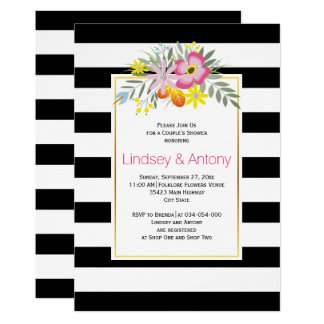 Flores cor-de-rosa e chá dos weddingcouple das convite 12.7 x 17.78cm