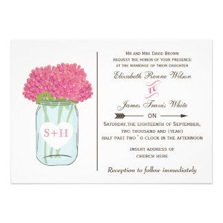 Flores cor-de-rosa em convites do casamento do