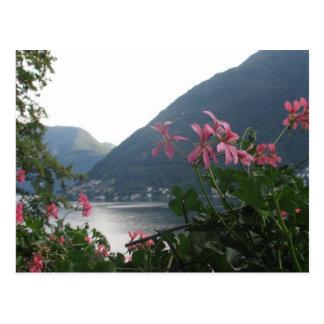 Flores cor-de-rosa sobre o lago Como Cartão Postal