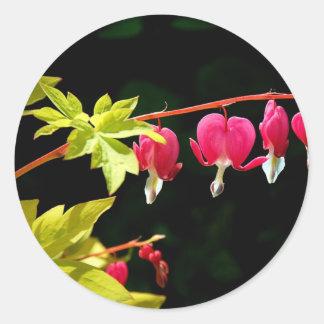 Flores:-) corações de sangramento adesivo redondo