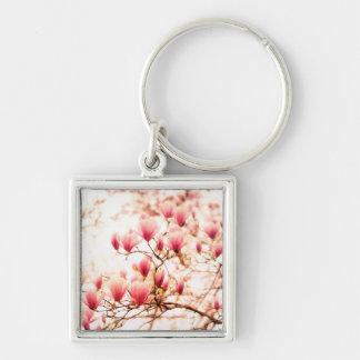 Flores de cerejeira bonitas - Central Park Chaveiro Quadrado Na Cor Prata