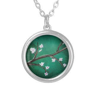 Flores de cerejeira colar banhado a prata