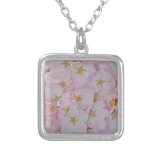 Flores de cerejeira cor-de-rosa do primavera colar banhado a prata