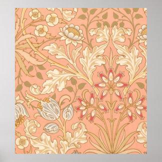 Flores decorativas do rosa Pastel Poster