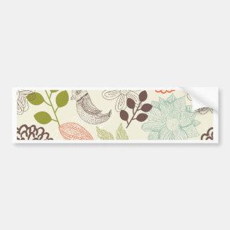flores do anf dos pássaros do vetor do doodle adesivo para carro