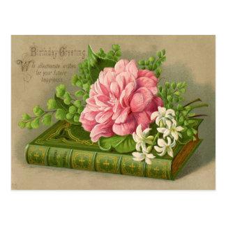 Flores do aniversário do vintage cartão postal