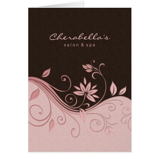 Flores do rosa do cartão do folheto do salão de be