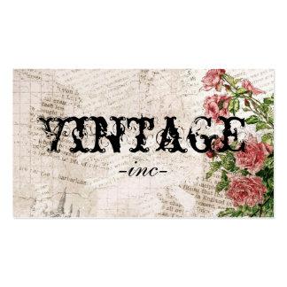 Flores do vintage sobre o texto afligido cartão de visita