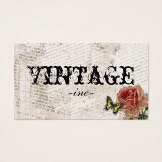 Flores do vintage sobre o texto afligido cartão de visitas