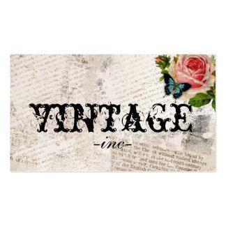 Flores do vintage sobre o texto afligido cartões de visita