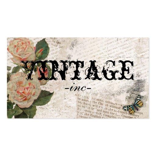 Flores do vintage sobre o texto afligido cartoes de visita