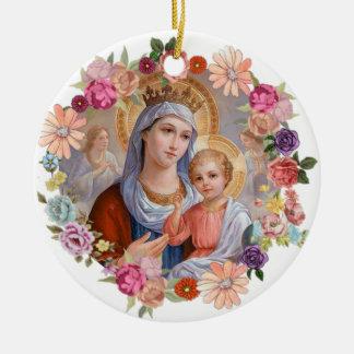 Flores dos anjos de Jesus do bebê da coroa de Mary Ornamento De Cerâmica Redondo