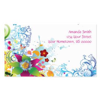 Flores e cartão de visita tropicais abstratos dos