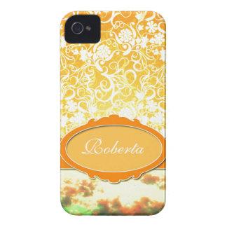Flores e céu femininos alaranjados conhecidos feit iPhone 4 capas