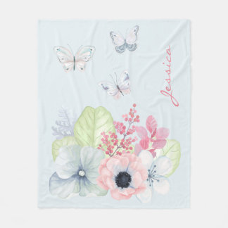 Flores e cobertura Pastel do velo das borboletas Cobertor De Lã