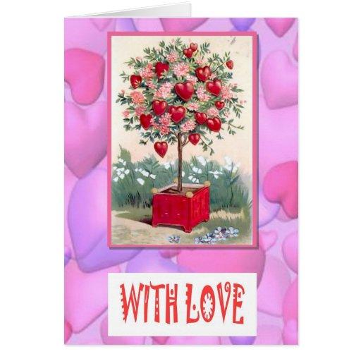 Flores e corações cartao