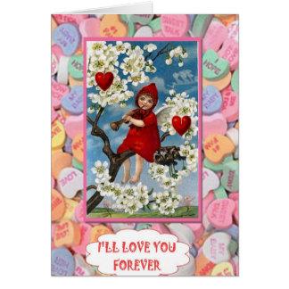 Flores e corações cartão