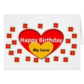 Flores e feliz aniversario do coração meu amor cartão comemorativo