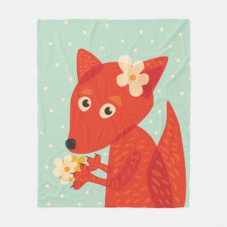 Flores e Fox bonito Cobertor De Lã