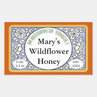 Flores e frasco decorativos do mel dos botões adesivo retangular