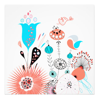 Flores e passarinho da fantasia impressão de foto