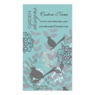 Flores e pássaros bonito maus frescos do verão modelo cartões de visitas