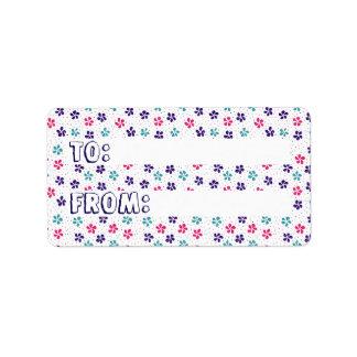 Flores e teste padrão de pontos & da etiqueta