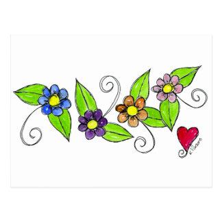 Flores e um coração cartão postal