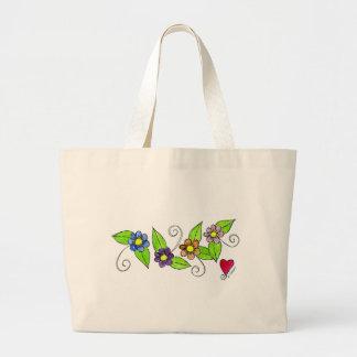 Flores e um coração sacola tote jumbo