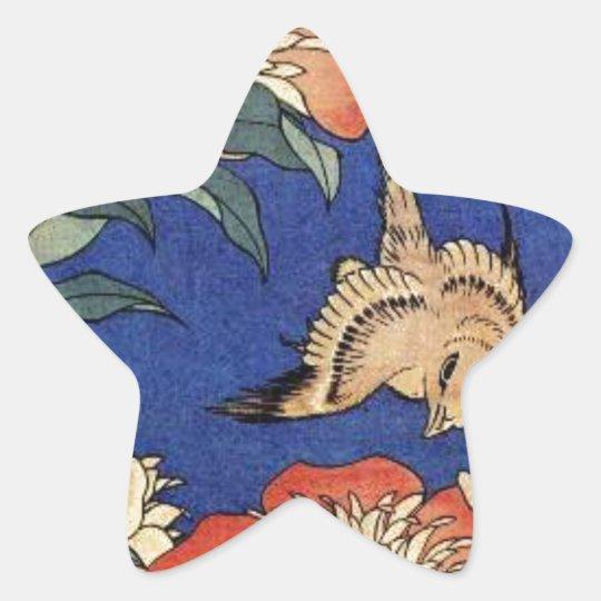 Flores e um pássaro adesito estrela