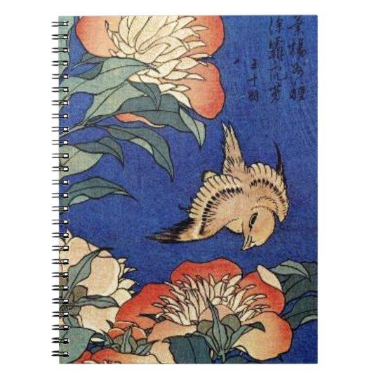 Flores e um pássaro cadernos espirais
