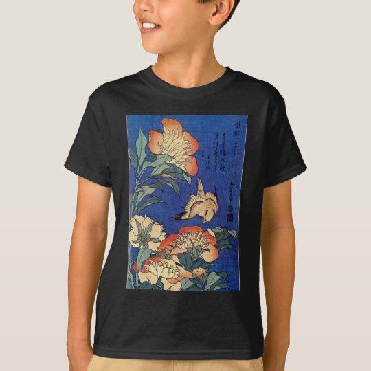 Flores e um pássaro camisetas